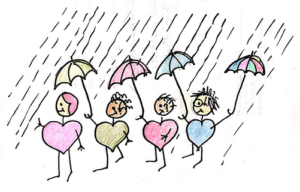 Human hearts holding umbrellas for one another